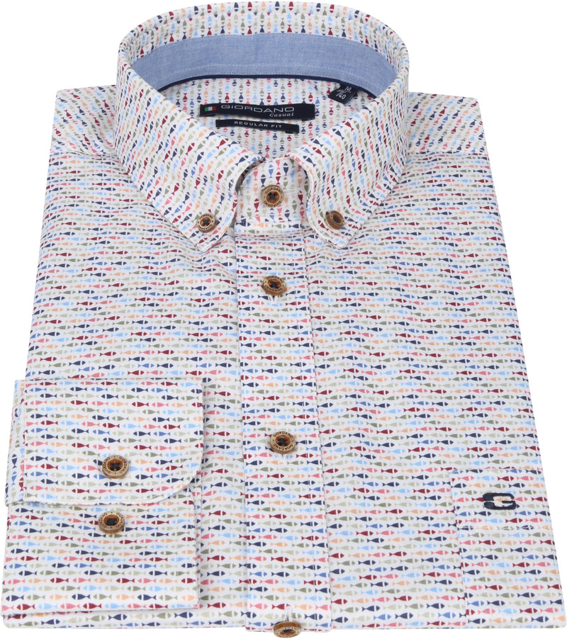 Giordano Overhemd Ivy Vis Rood