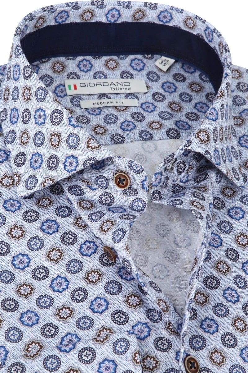 Giordano Overhemd Maggiore Retro Bloemen Blauw