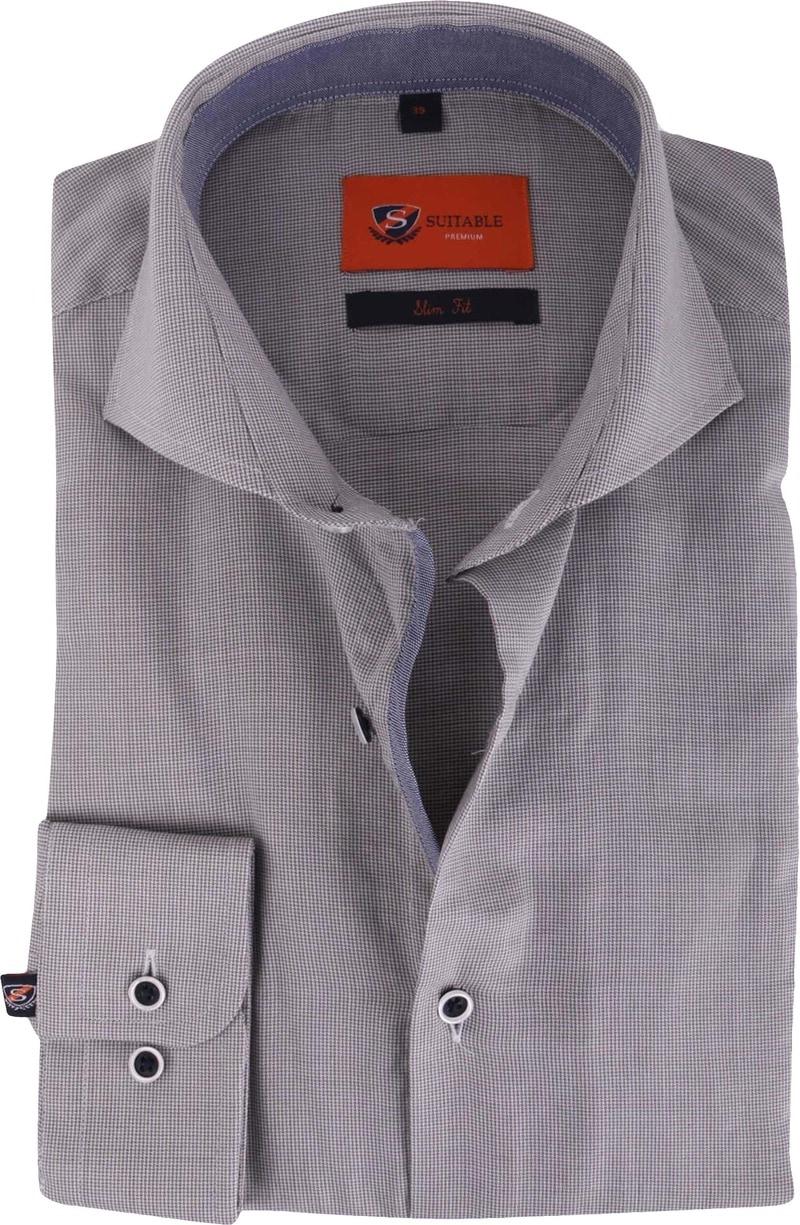 Grey Mini Check Shirt Slim Fit 112-05