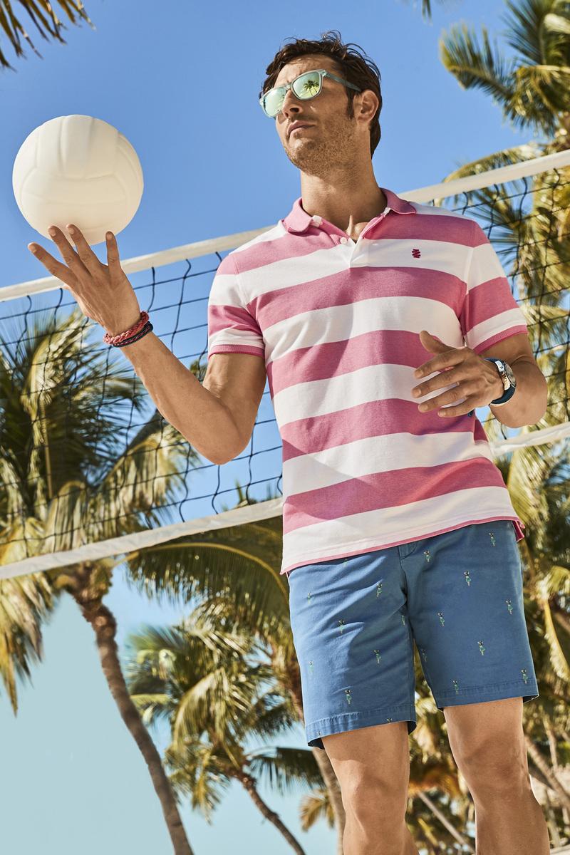 IZOD Performance Poloshirt Stripes Pink photo 4