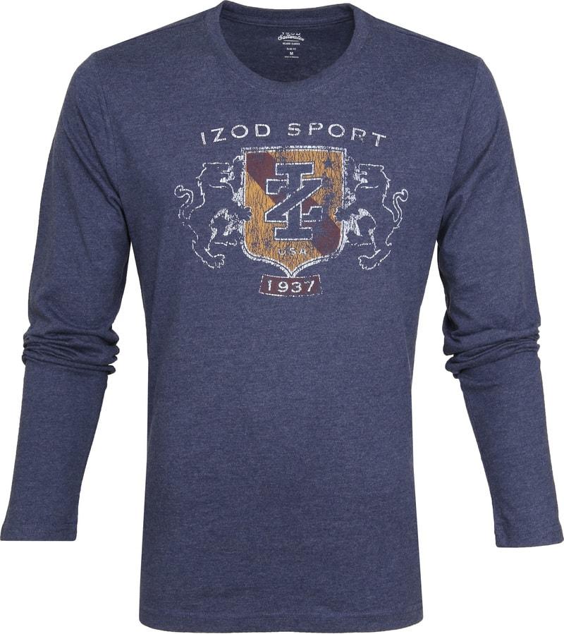 IZOD T-shirt LS Logo Blauw foto 0