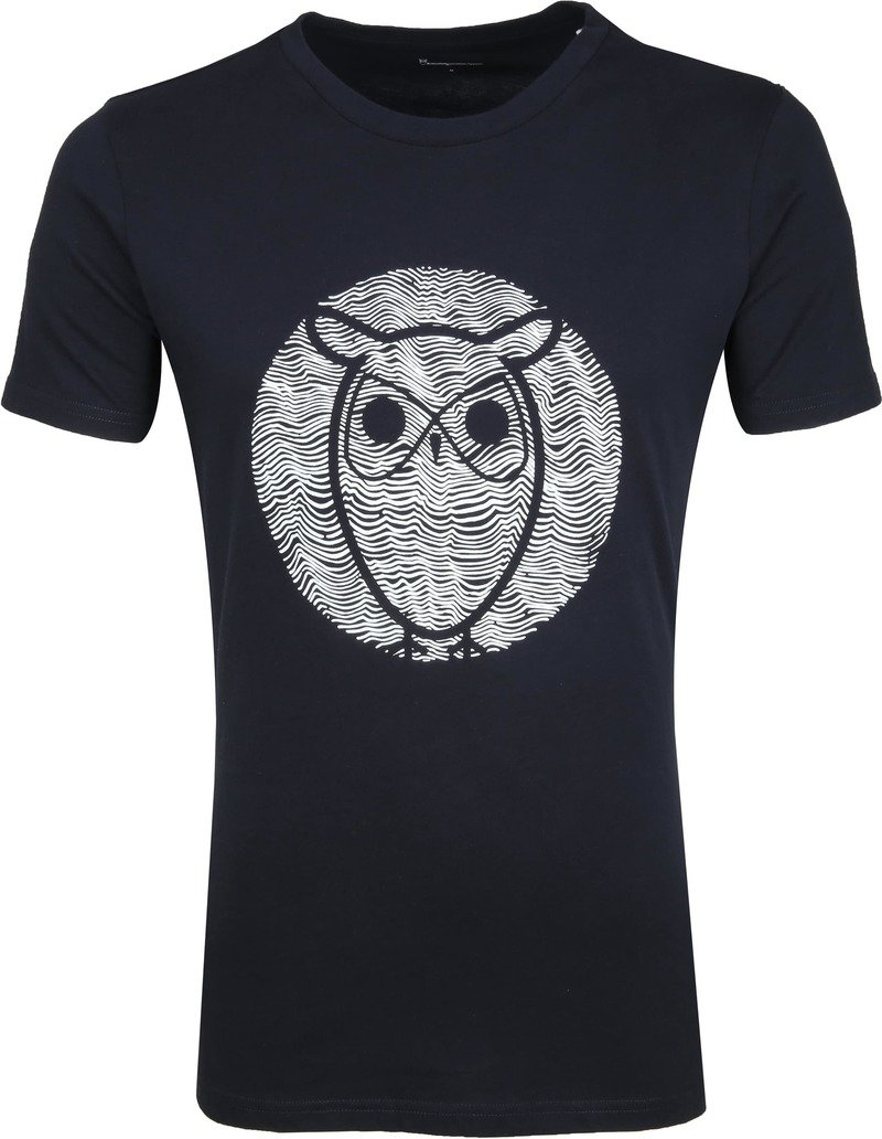 Knowledge Cotton Apparel T-shirt Alder Wave Owl Dunkelblau Foto 0