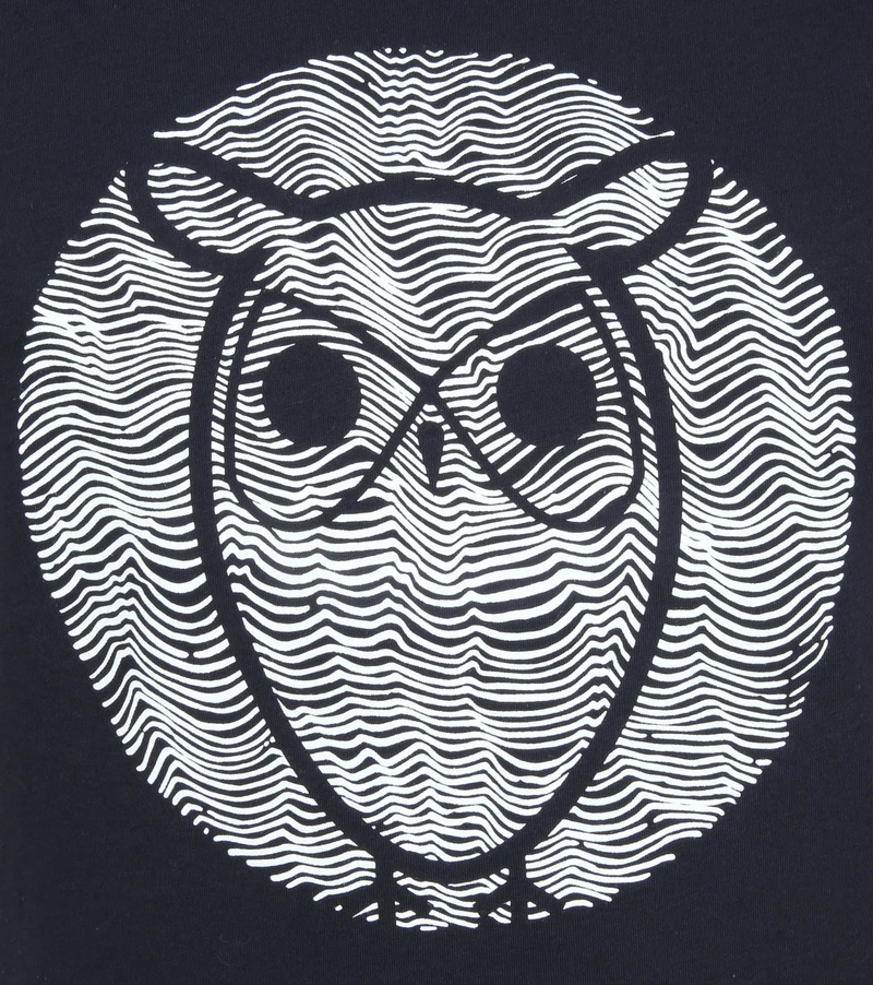 Knowledge Cotton Apparel T-shirt Alder Wave Owl Dunkelblau Foto 2