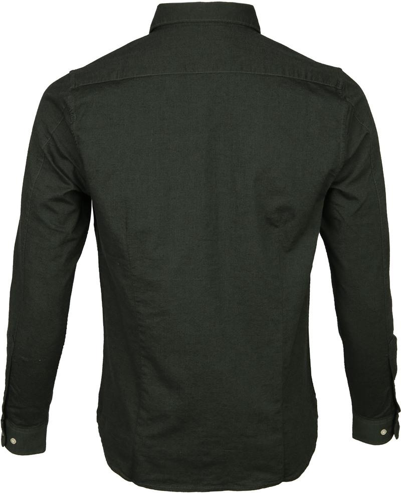 KnowledgeCotton Apparel Donkergroen Overhemd  foto 4