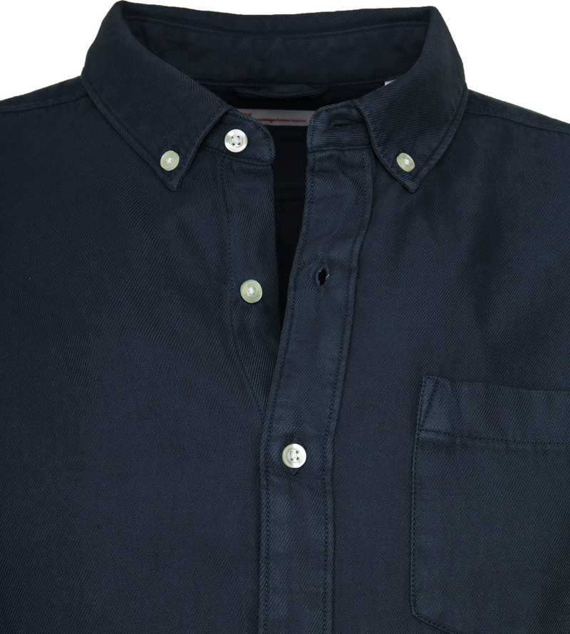 KnowledgeCotton Apparel Overhemd Twill Navy foto 1