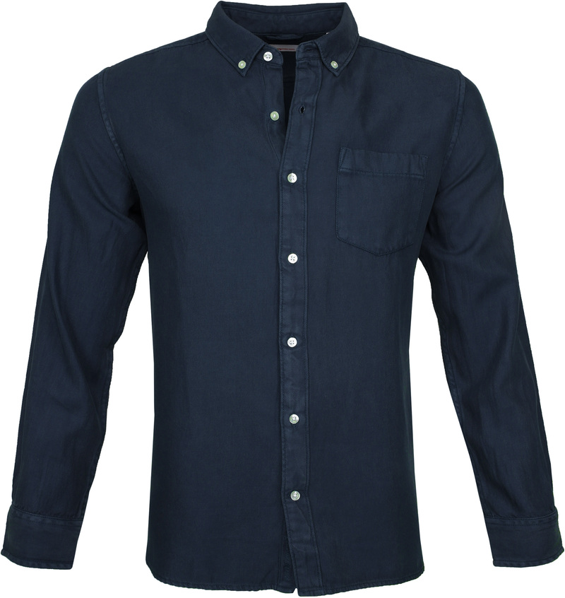 KnowledgeCotton Apparel Overhemd Twill Navy foto 0