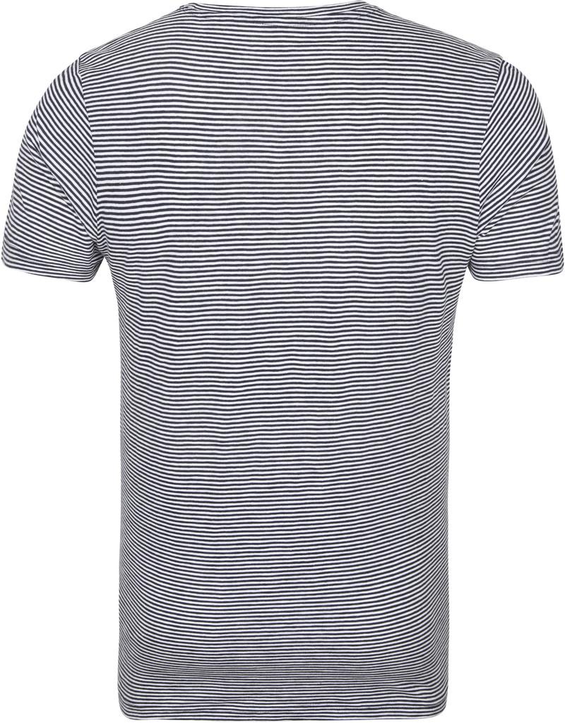 KnowledgeCotton Apparel T-shirt Alder Stripes Donkerblauw