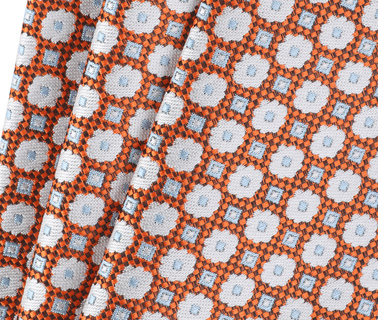 Detail Krawatte Seide Blume Orange 9-17