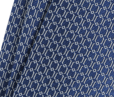 Detail Krawatte Seide Dessin Blau Gitter