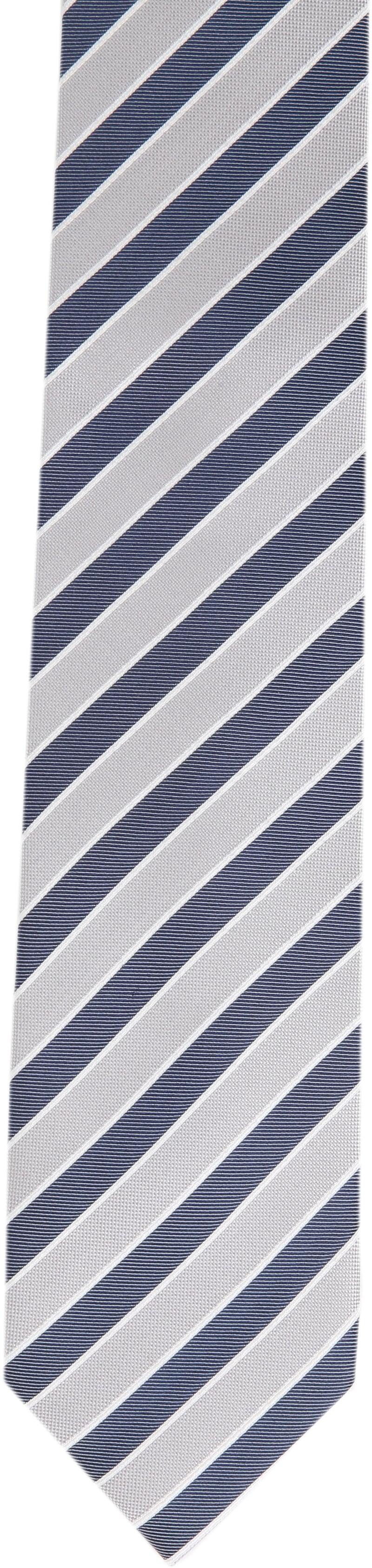 Krawatte Seide Dunkelblau Grau Streifen Foto 2