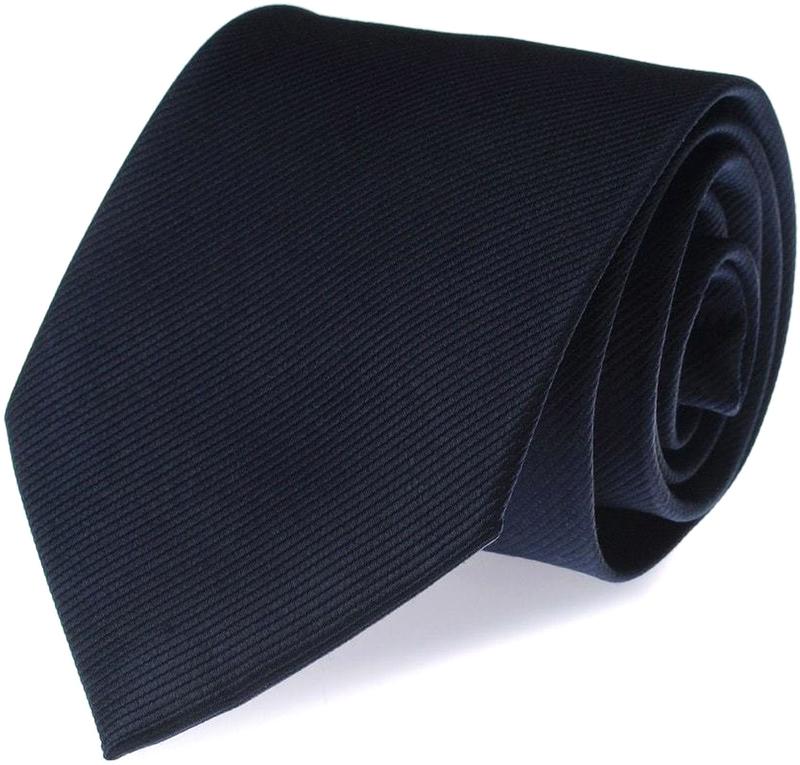 Krawatte Seide Marineblau Uni F35 Foto 0