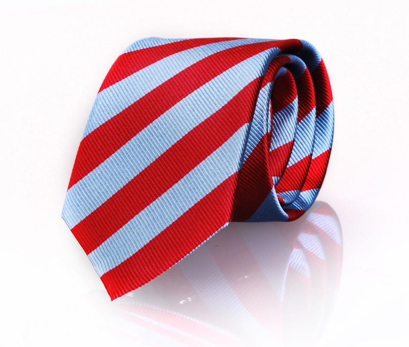 Krawatte Seide Rot - Blau Streifen FD08