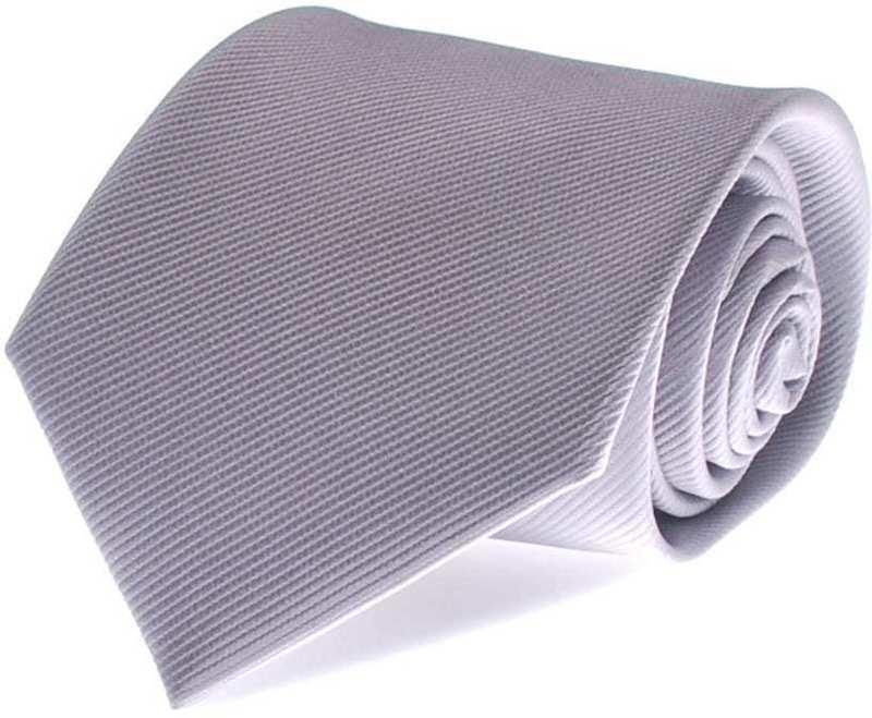 Krawatte Seide Silber Uni F48 Foto 0
