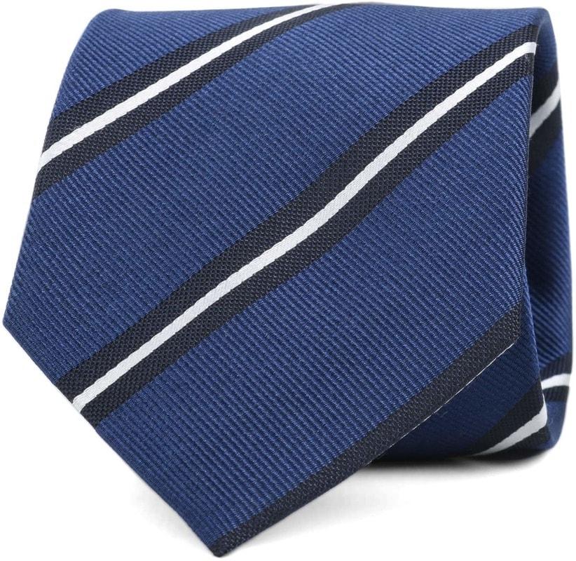 Krawatte Seide Streifen Blau   online kaufen | Suitable