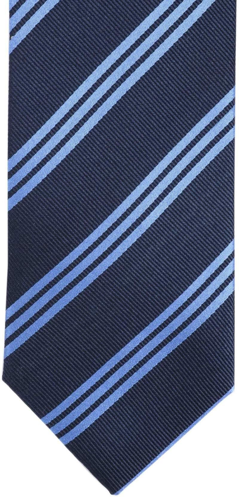 Detail Krawatte Seide Streifen Navy Blau