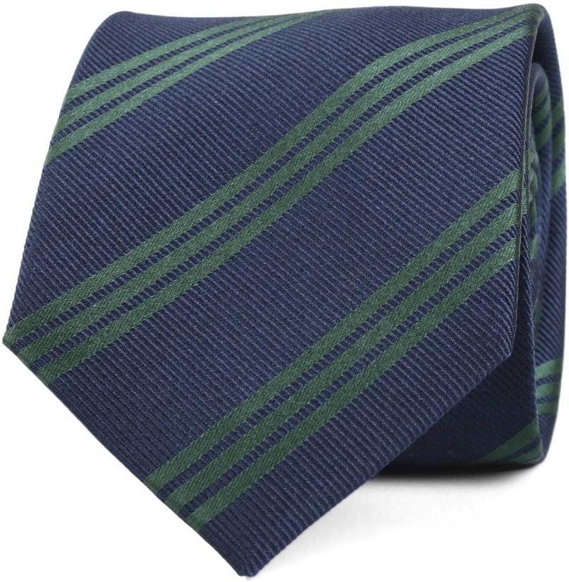 Krawatte Seide Streifen Navy Grun  online kaufen | Suitable