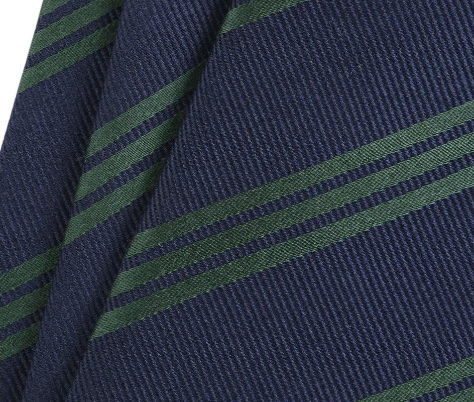 Detail Krawatte Seide Streifen Navy Grun