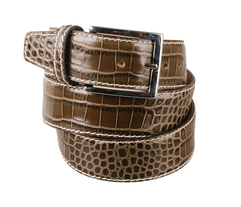 Leather Belt Croco Olive G72