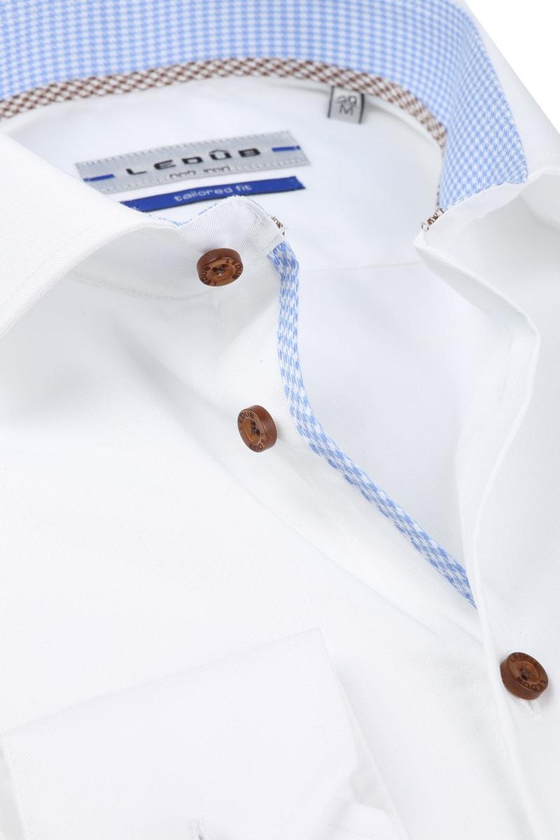Ledub Hemd Non Iron Wit Blauw foto 1