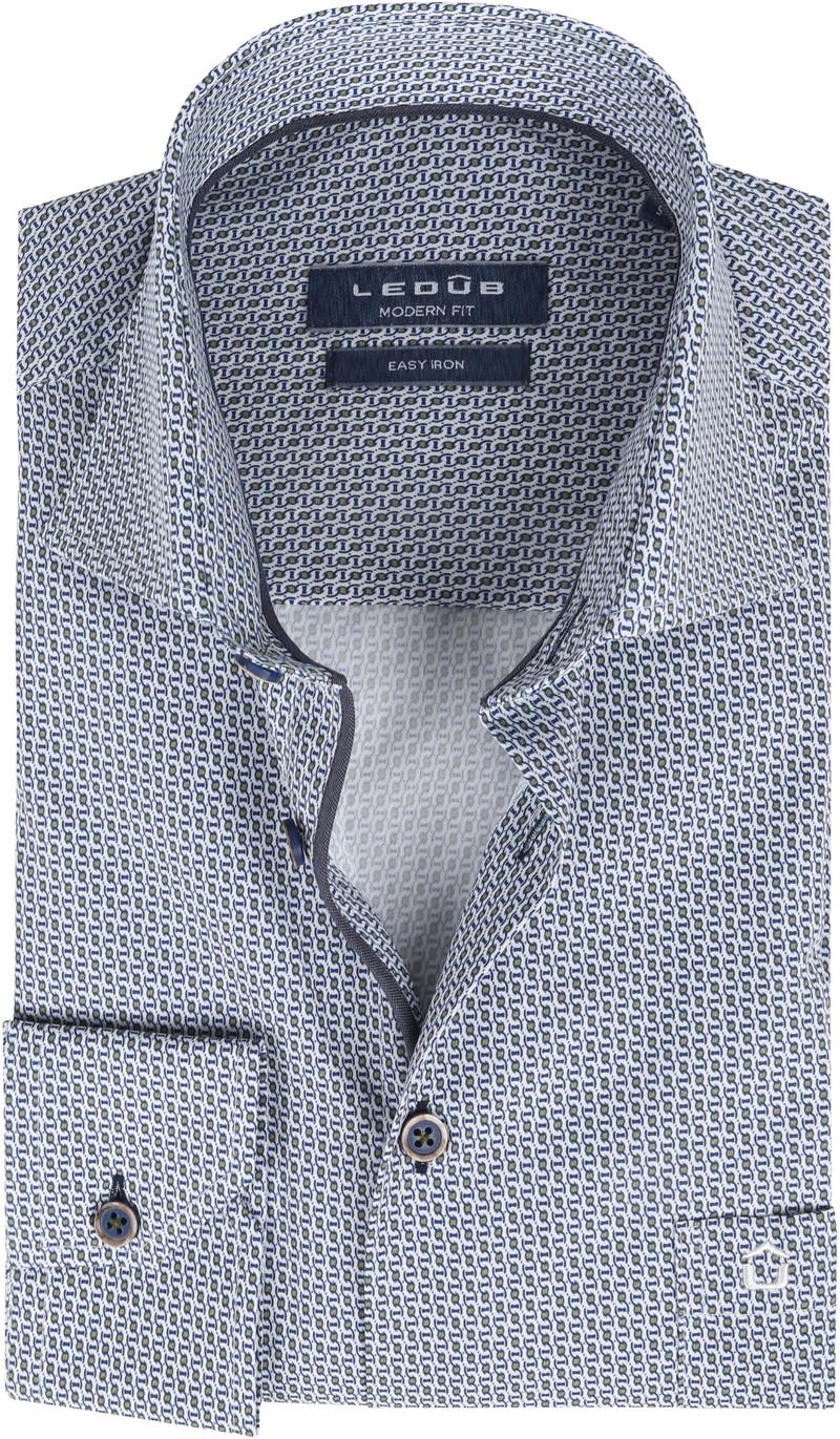 Ledub Katoen Overhemd Patroon Donkerblauw