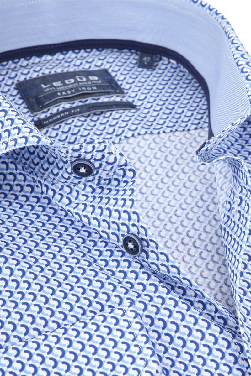 Ledub Overhemd Blauw Patroon