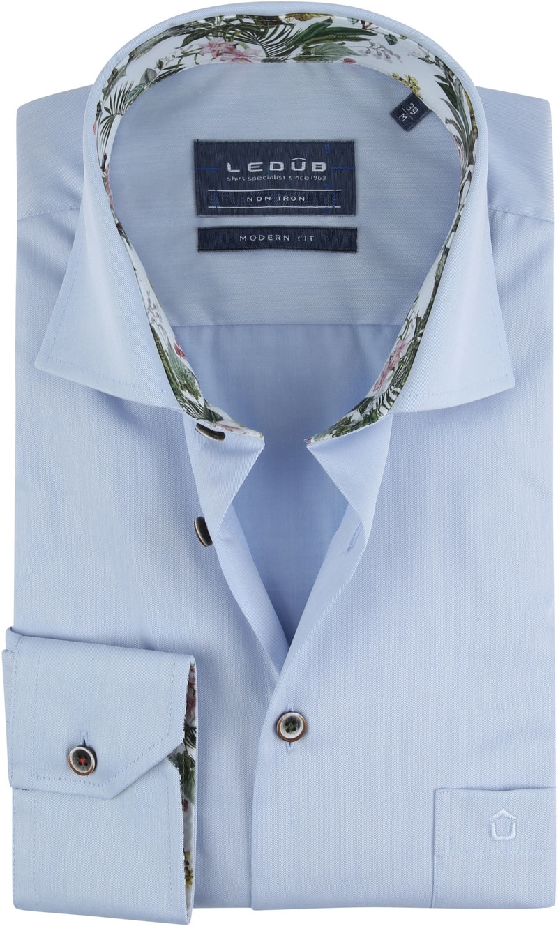 Ledub Overhemd Blauw Tropisch - Blauw maat 41