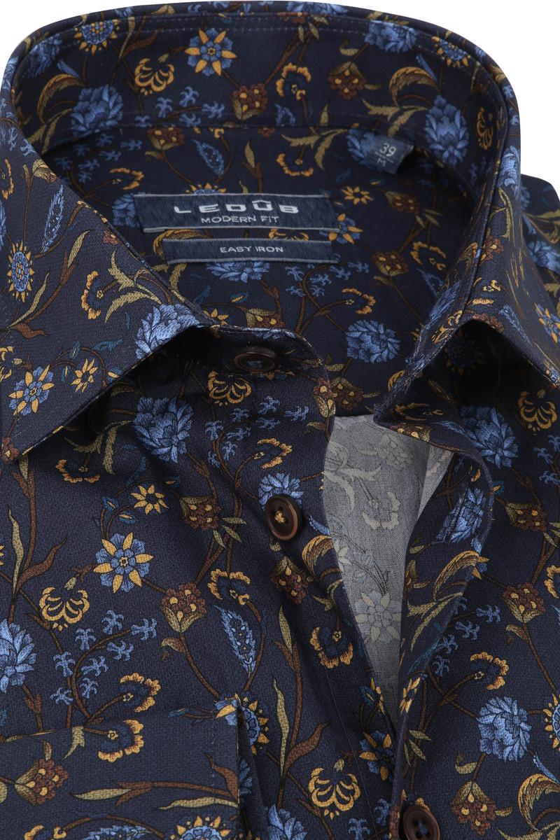 Ledub Overhemd Bloemen Donkerblauw