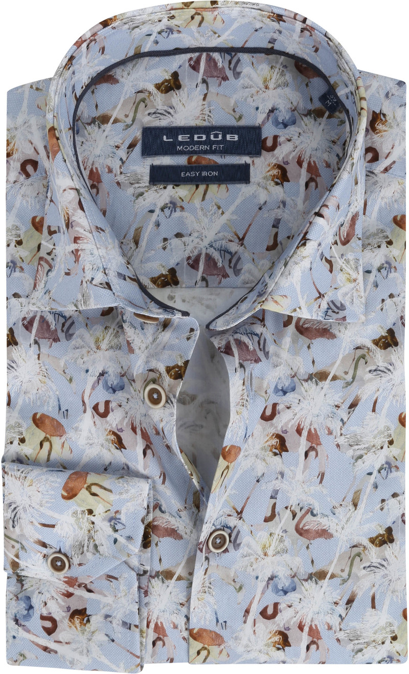 Ledub Overhemd Bloemen Lichtblauw