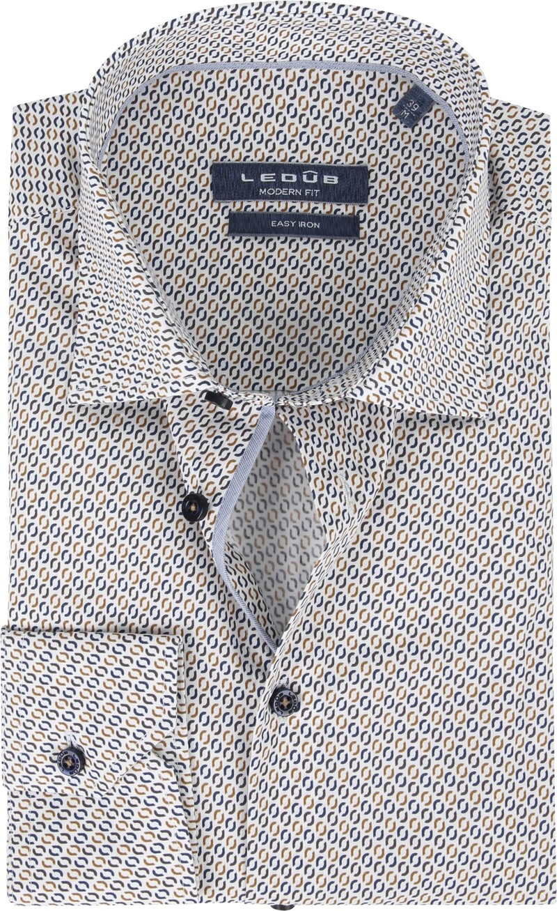 Ledub Overhemd Bruin Patroon
