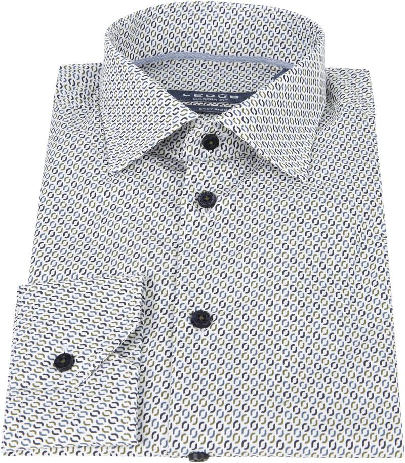 Ledub Overhemd Donkerblauw Patroon foto 2