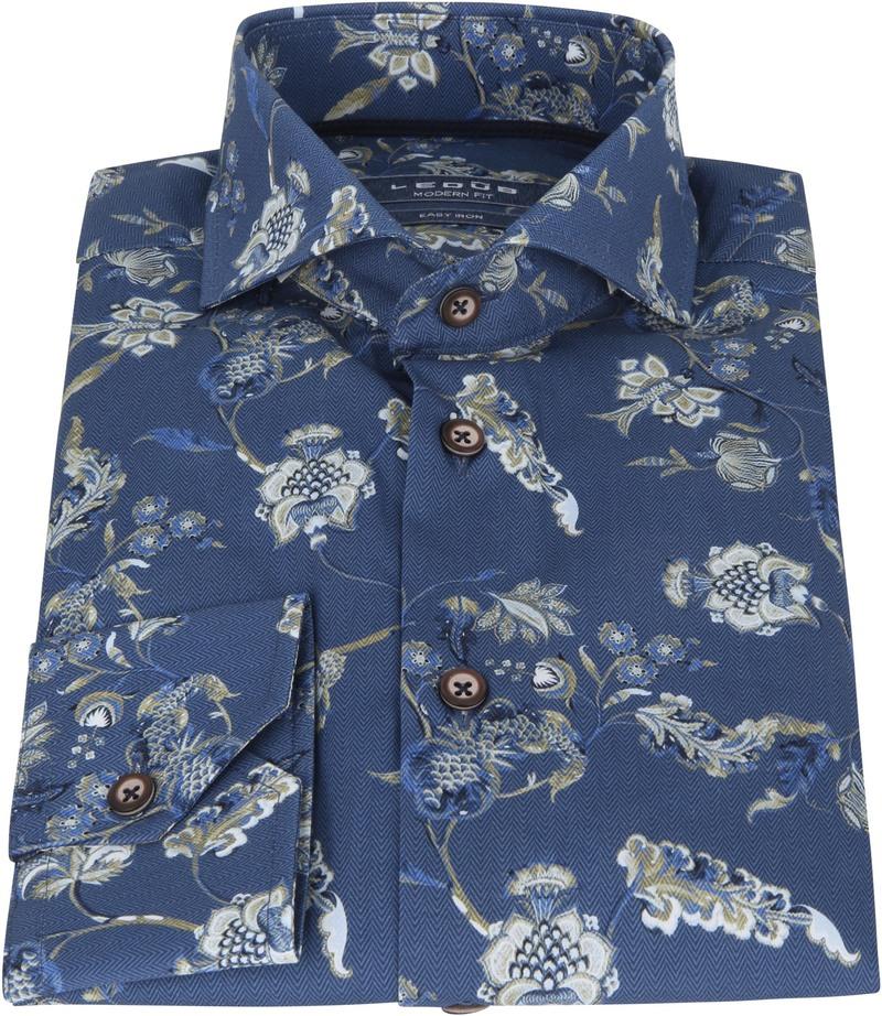 Ledub Overhemd Natuur Donkerblauw
