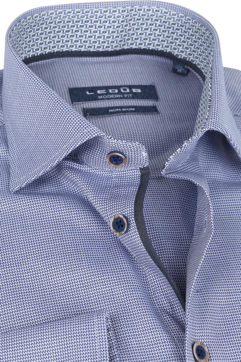 Ledub Strijkvrij Katoen Overhemd Blauw