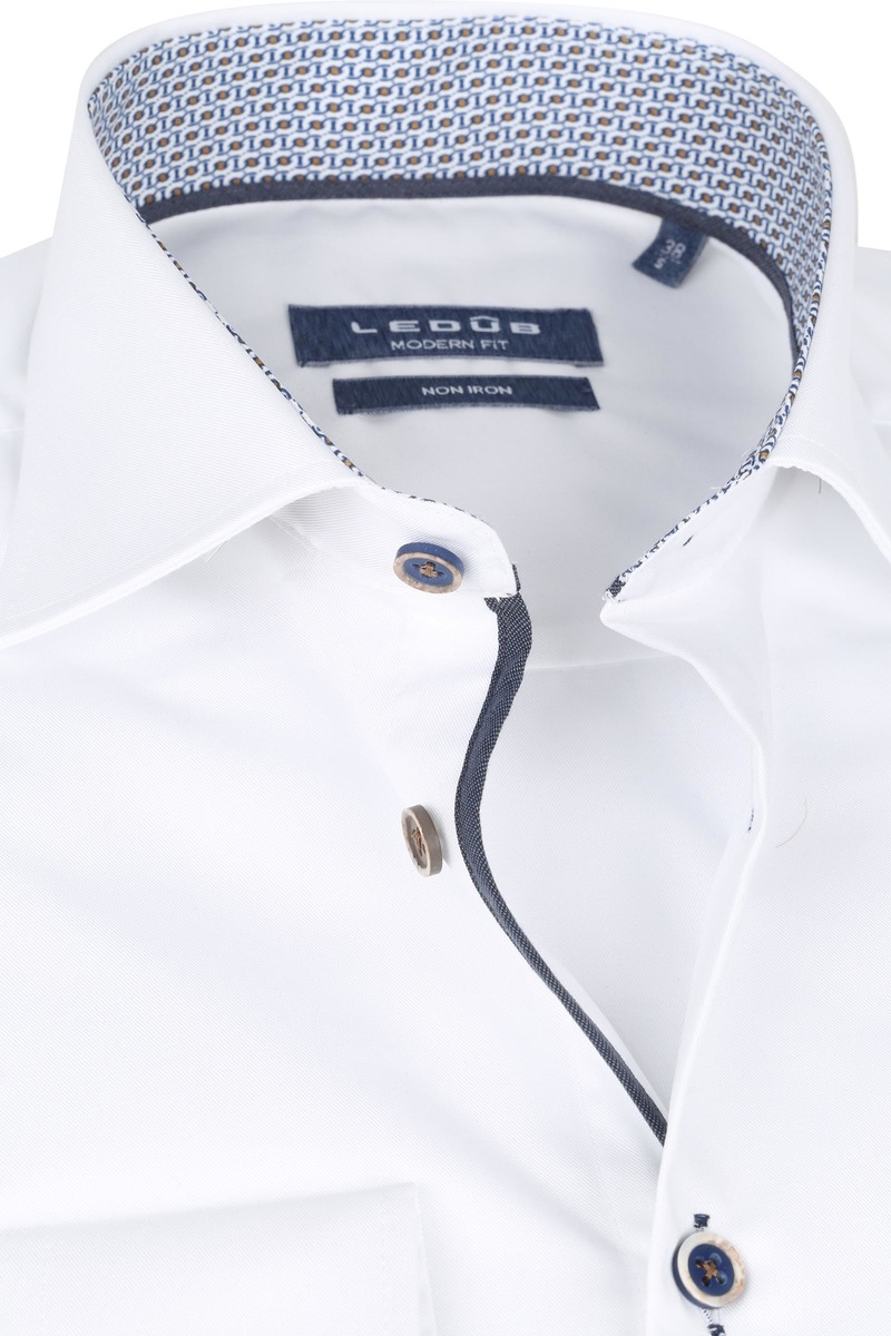 Ledub Strijkvrij Katoen Overhemd Wit