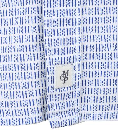 Detail Marc O\'Polo Korte Mouw Overhemd Wit Blauw