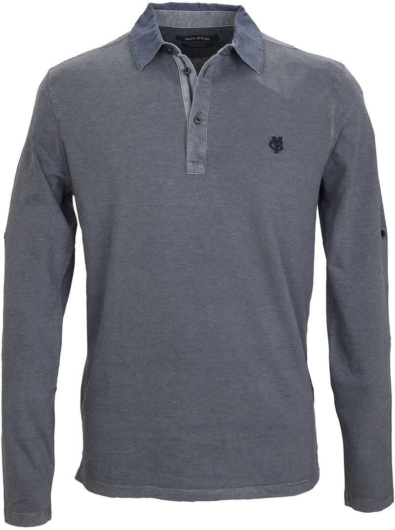 Marc O'Polo Lange Ärmel Poloshirt Blau Grau  online kaufen   Suitable