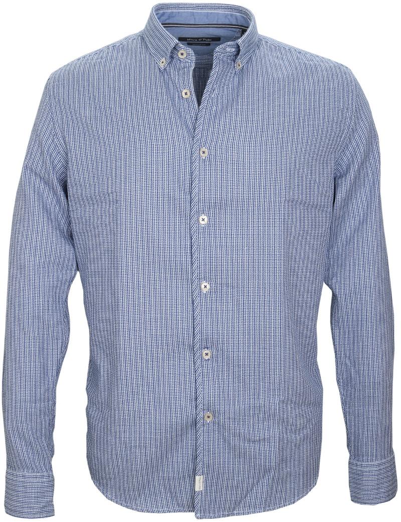 Detail Marc O\'Polo Overhemd Dessin Navy
