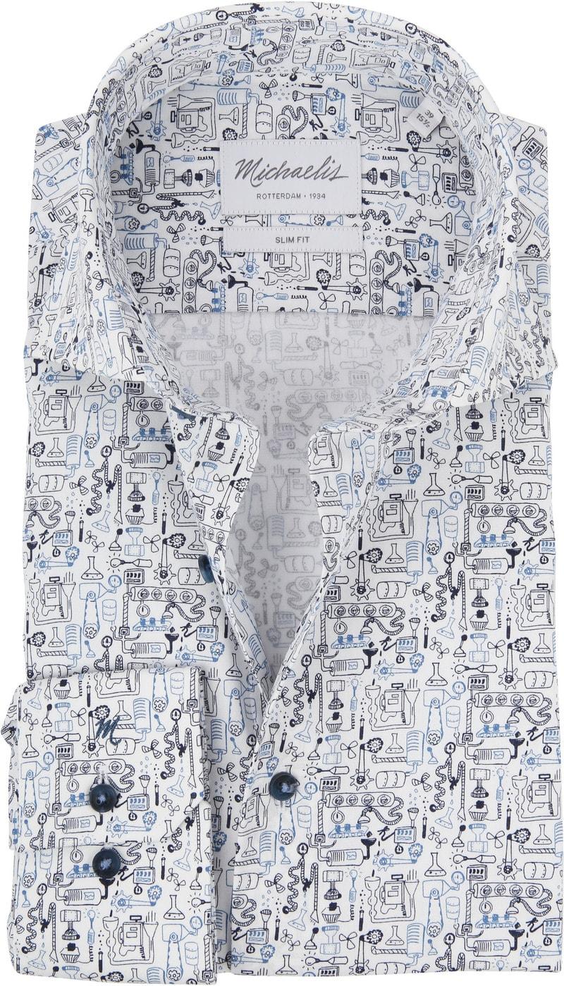 Michaelis Overhemd SF Dessin Blauw foto 0