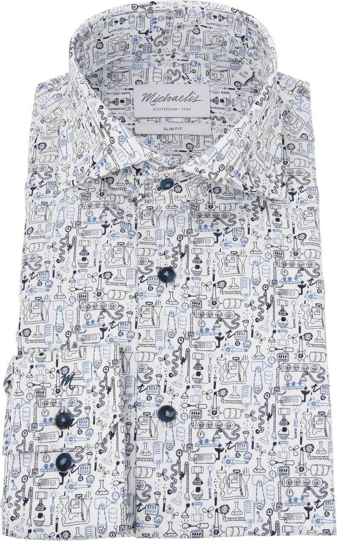 Michaelis Overhemd SF Dessin Blauw foto 2