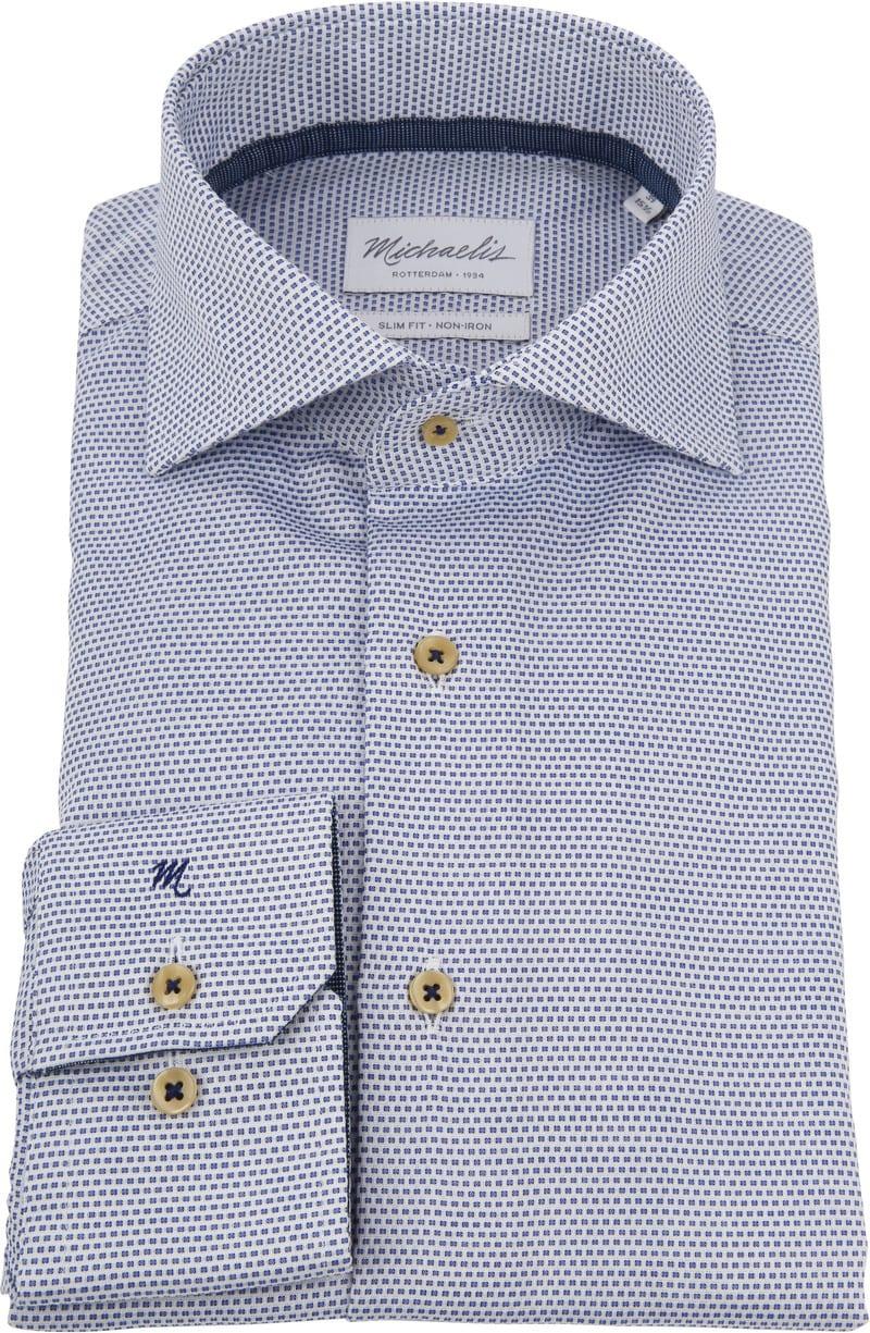 Michaelis Overhemd SF Wit/Blauw foto 2