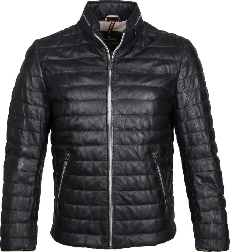 Milestone Tereno Leather Jacket Navy Grey photo 0