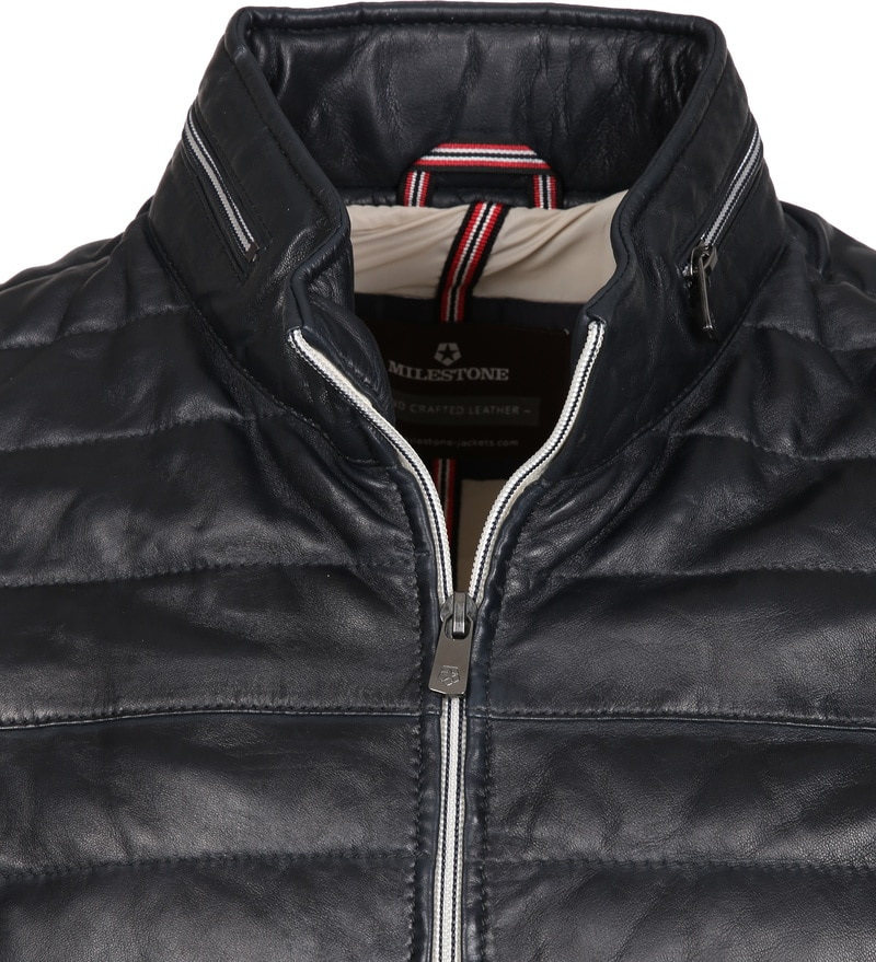 Milestone Tereno Leather Jacket Navy Grey photo 1