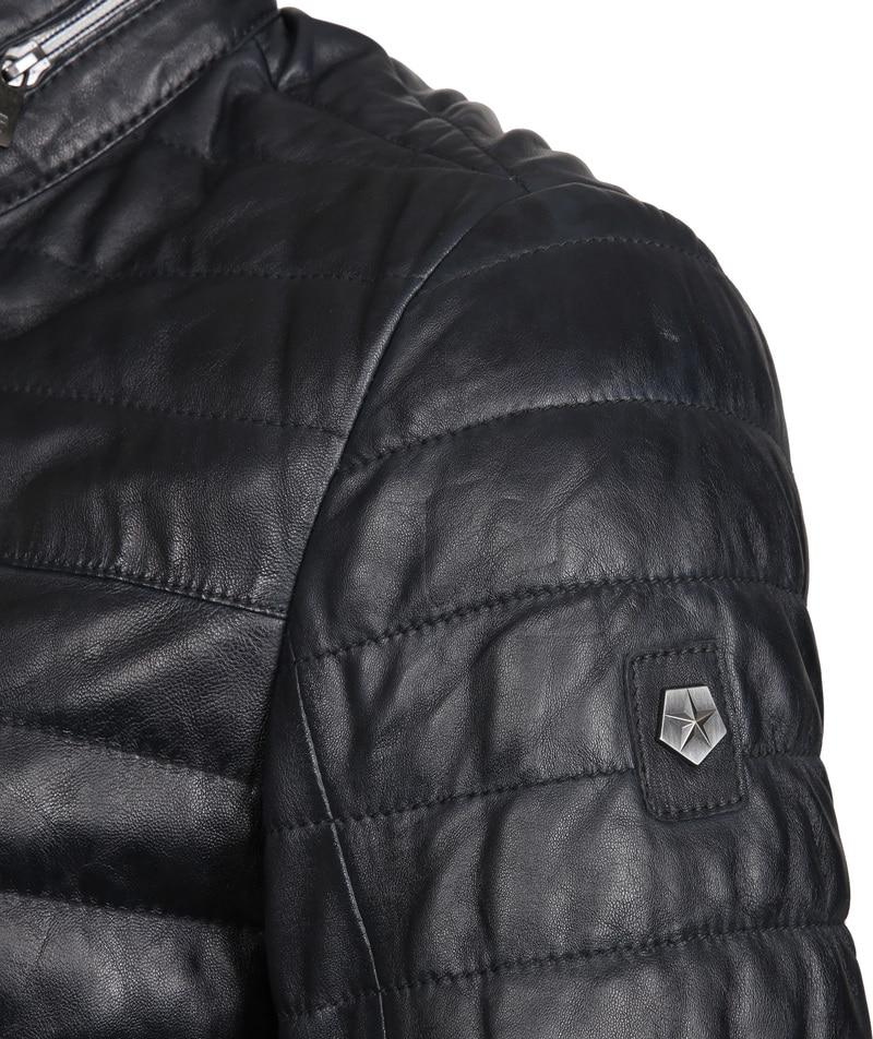 Milestone Tereno Leather Jacket Navy Grey photo 3