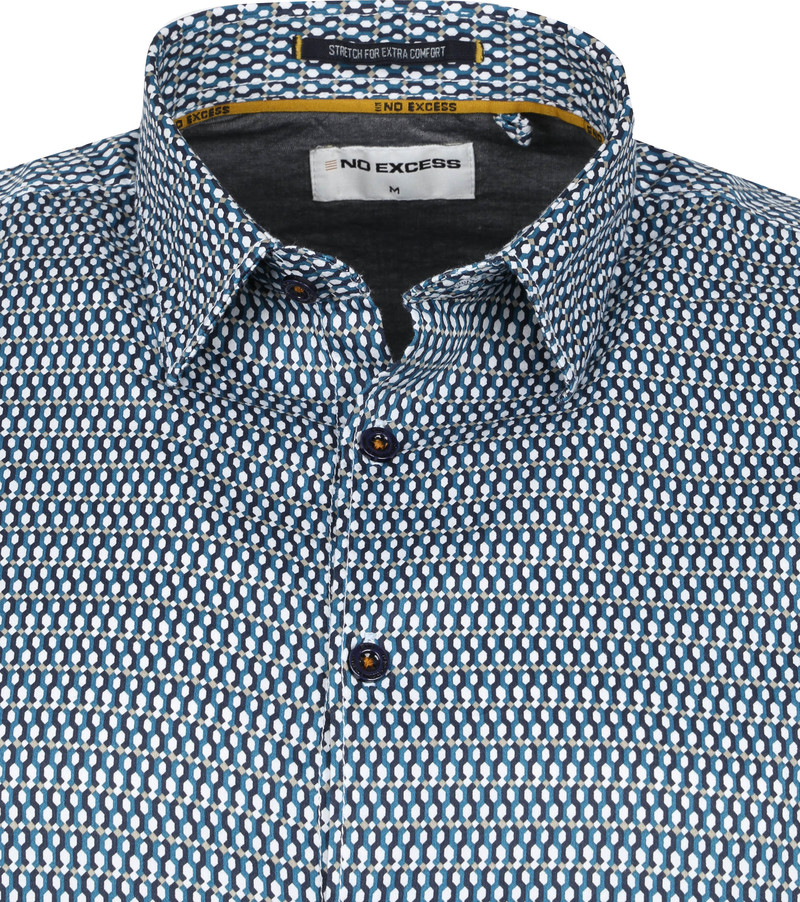No-Excess Hemd Patroon Aqua Blauw