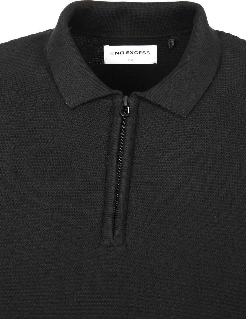No-Excess LS Polo Zip Zwart