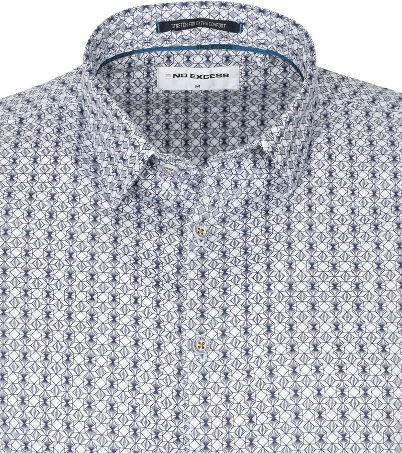 No-Excess Overhemd 3D Patroon Blauw