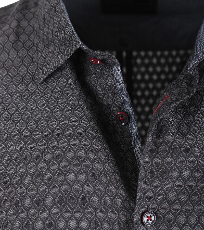 Detail No-Excess Overhemd Print Antraciet