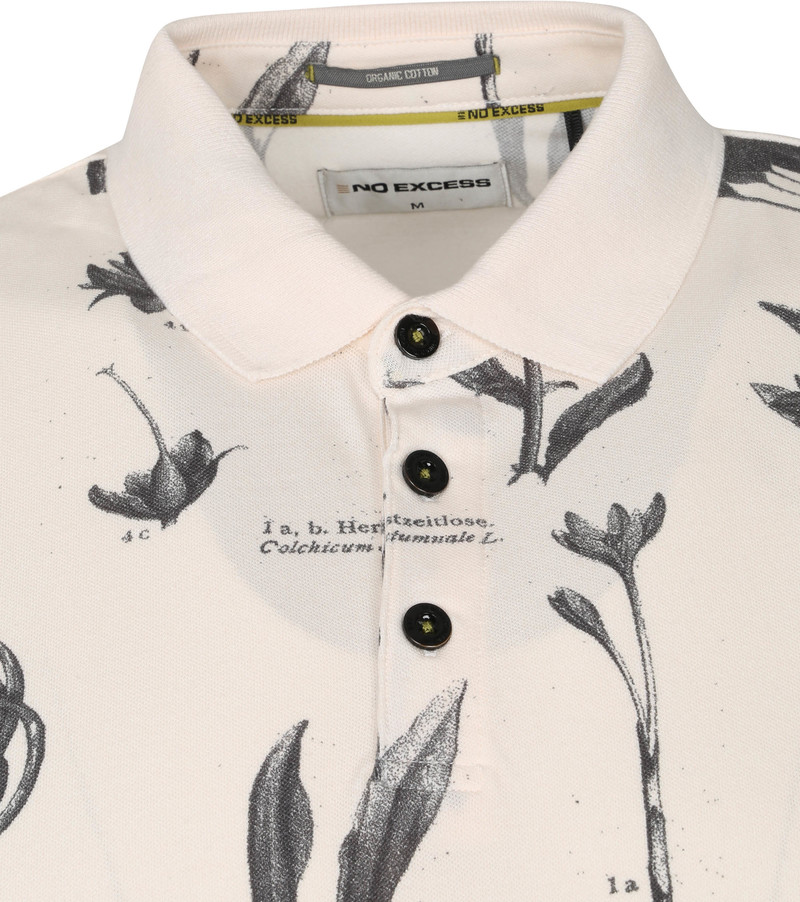 No-Excess Polo Pique Bloemen Off White