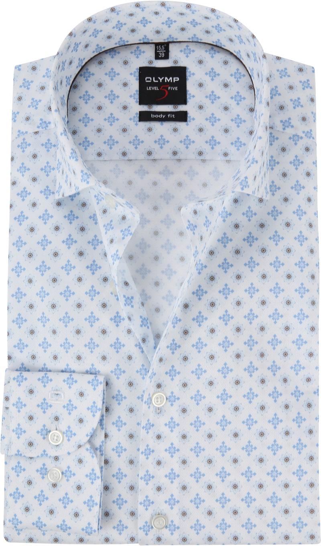 OLYMP Level 5 Overhemd Bloem Blauw foto 0