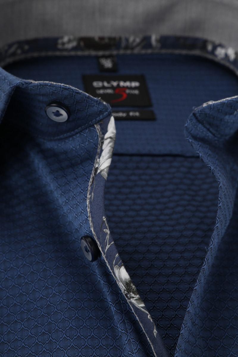 OLYMP Level 5 Overhemd Navy Dessin foto 1