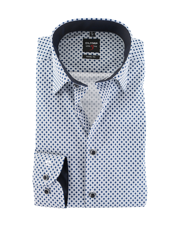 OLYMP Level 5 Shirt Body Fit Blauwe Print  online bestellen | Suitable